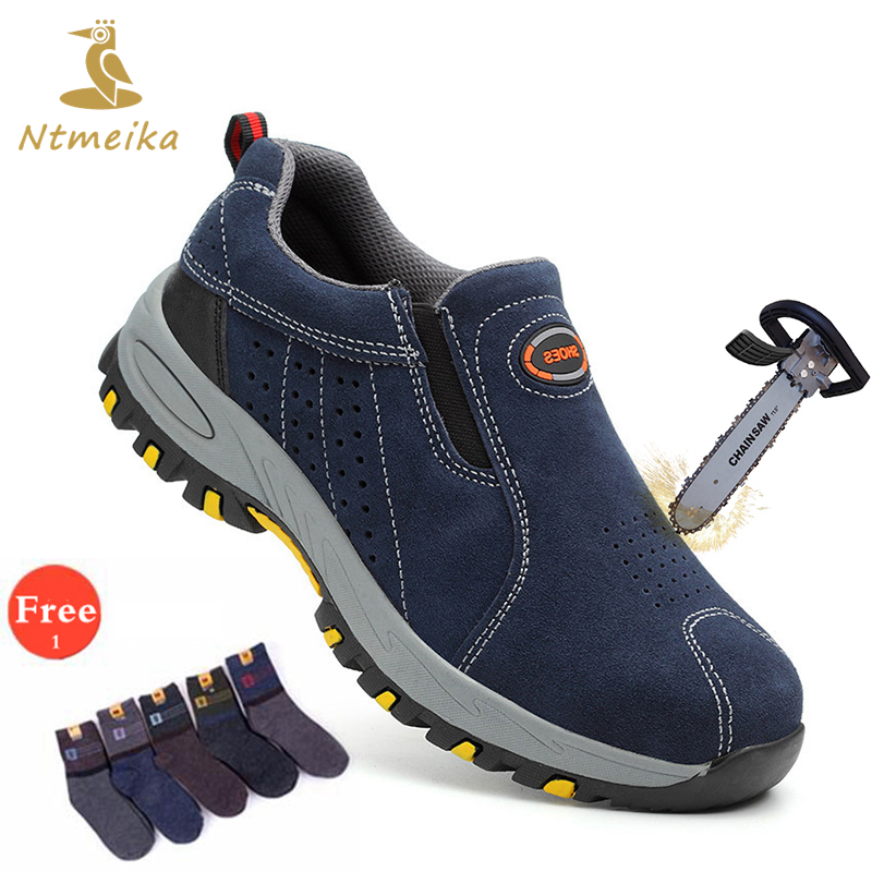 Plus Size 36-46 Cow Suede Men Safety Shoes Steel Toecap Insole Safety Boots Men Breathable Wear-Resisting Outdoor Work Shoes
