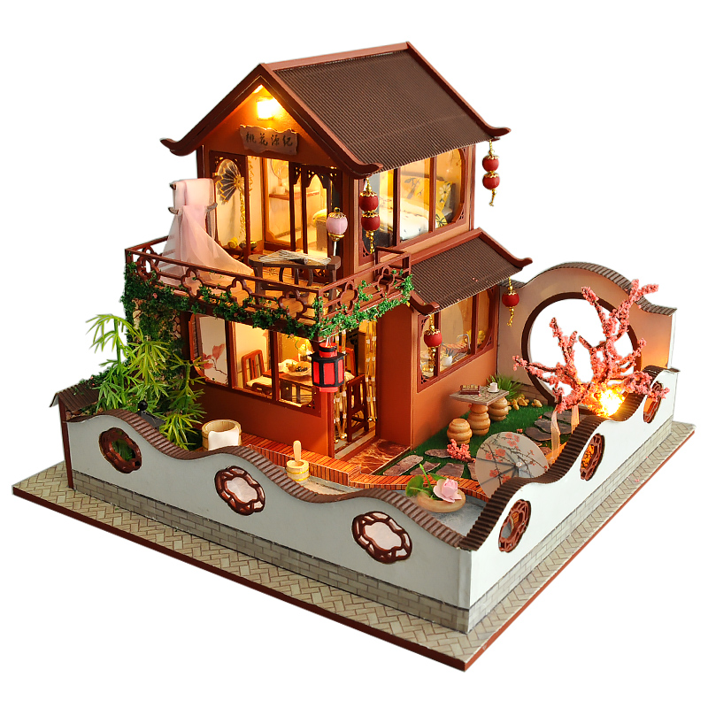 Kids Toys Doll House Furniture Assemble Wooden Toys Miniature Dollhouse Diy Dollhouse Puzzle Educational Toys For