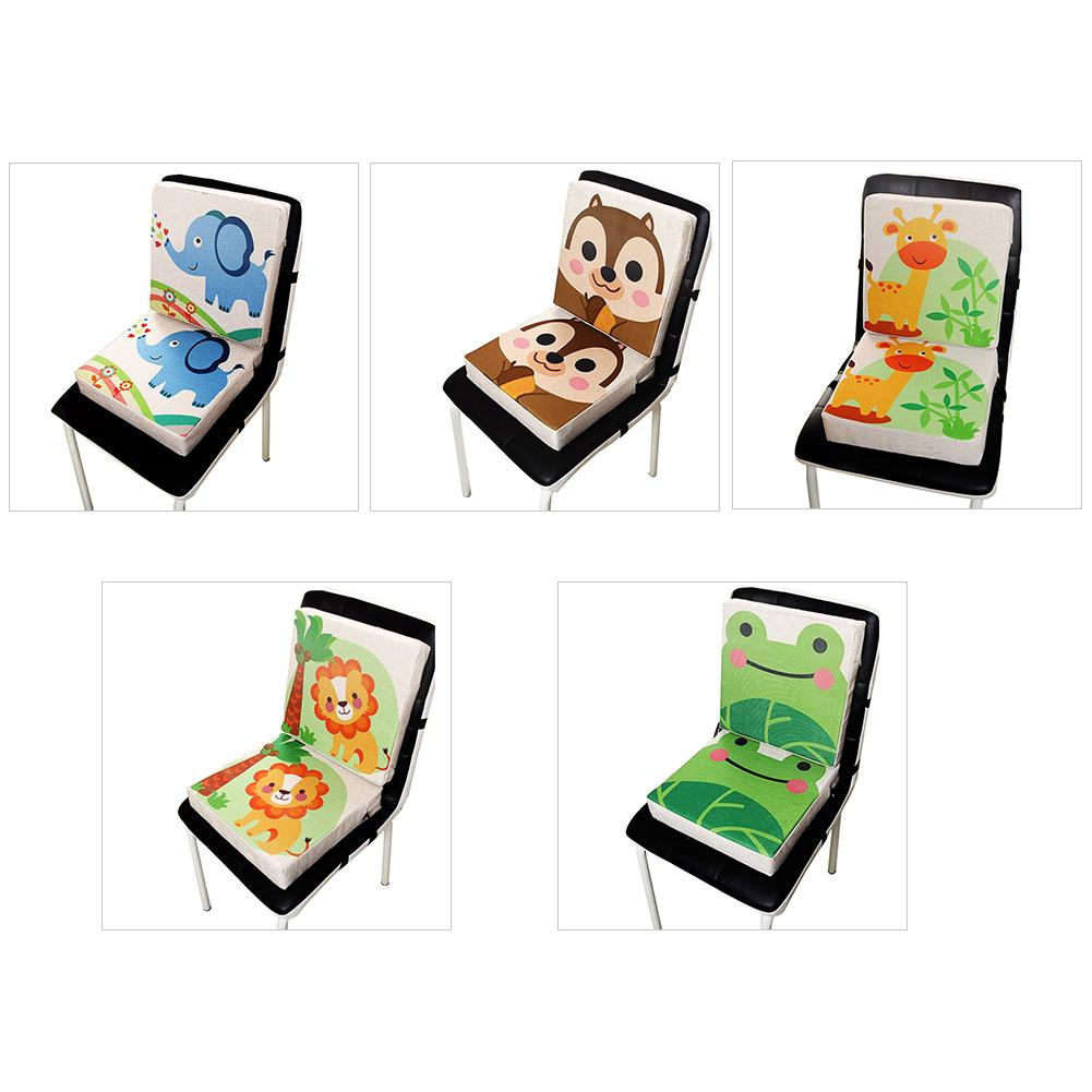 Portable Dismountable Adjustable Cushion Cute Animal Print Flax Children Dining Chair Heightening Cushion Piano Pad Baby Mat