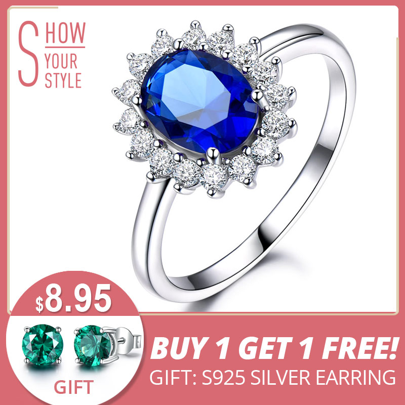 UMCHO Luxury Blue Sapphire 6 * 8mm Princess Diana Rings Genuine 925 Sterling Silver Engagement Rings For Wedding Wedding Jewelry
