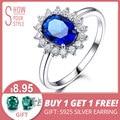 UMCHO de lujo Azul zafiro 6*8mm Princesa Diana anillos genuino Plata de Ley 925 anillos de compromiso para las mujeres de la boda joyería
