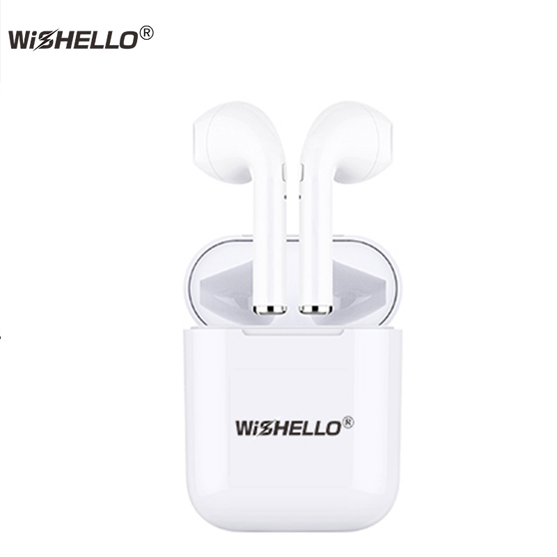 WiSHELLO True Wireless Earphones Bluetooth Wireless 4.2 Stereo In-Ear with Mic Portable Charging Box for iphone Samsung Xiaomi flat stereo in ear earphones w mic clip for iphone htc samsung black white 3 5mm plug