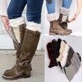 2016 otoño invierno mujeres calentadores de la pierna de la manera crochet giro mujeres calentadores de la pierna de arranque del manguito de peluche Pompón de punto niñas grueso boot calcetines