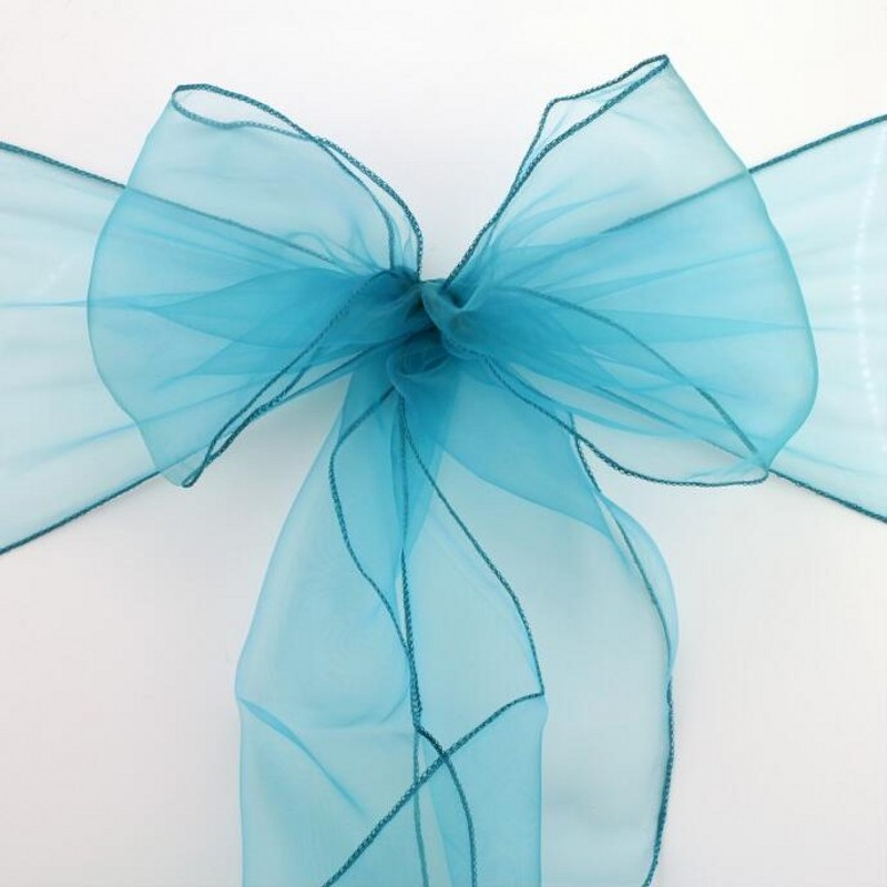 25Pcs/Lot teal blue Wedding Organza Chair Cover Sashes Bow Sash Wedding Banquet Party Decoration Free Shipping