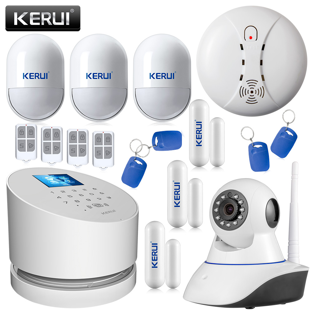 KERUI W2 TFT Touch Screen WiFi GSM PSTN Home Alarm Security System ISO Android App With Wifi IP Camera Wireless Smoke Detector kerui wireless wired gsm voice burglar home house security alarm app control tft touch panel wireless smoke detector pir sensor