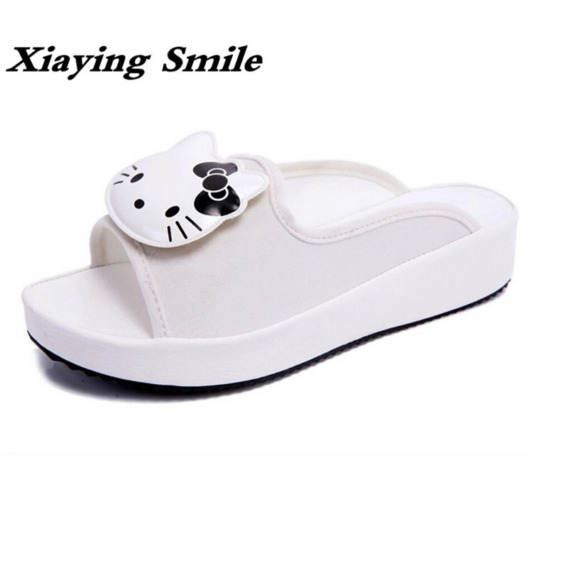 Xiaying Smile Summer Women Slippers Fashion Casual Style Sandals Creeper Slides Flats Cute Hello Kitty Carton Animation Shoes xiaying smile summer new woman sandals casual fashion shoes women zip fringe flats cover heel consice style rubber student shoes
