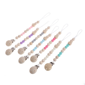 Nipple Holder Beaded Wooden Baby Pacifier Clip Chain Leash Strap Clips Soother