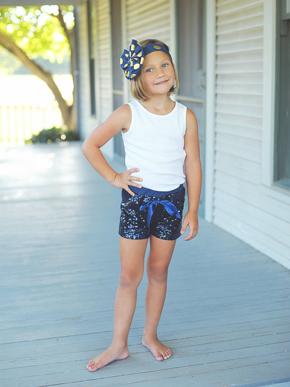 Navy Glittery Sequin Shorts blue Baby Girls Birthday Clothes Cake Smashing Outfit gold sequin ...