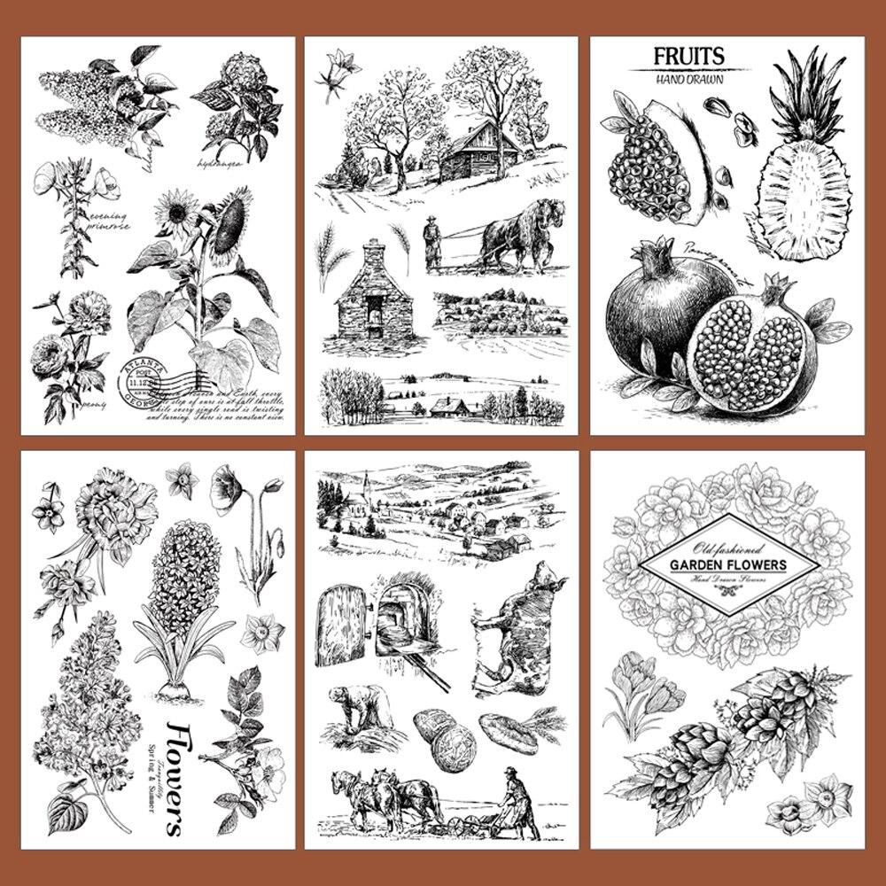 11x16cm vintage scrapbooking DIY clear stamp cabin fruit flower farm harvest design 11 16 661111