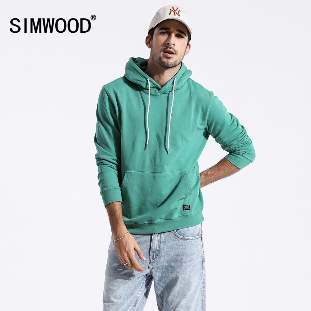 SIMWOOD 2019 Autumn New Casual Hoodies Men Slim Fit Embroidered Hooded Sweatshirts Plus Size Kangaroo Pocket Mens Clothes 180221