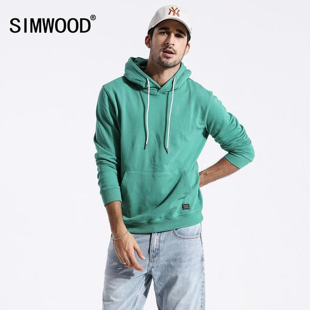 SIMWOOD 2020 spring new casual hoodies men slim fit embroidered hooded Sweatshirts plus size Kangaroo pocket mens clothes 180221