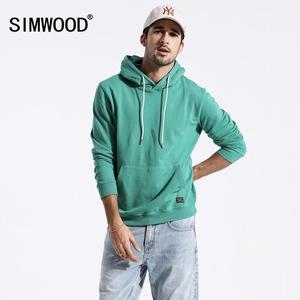 Image 1 - Мужское худи с вышивкой SIMWOOD, повседневный приталенный свитшот с капюшоном и карманом «кенгуру», новая модель 180221 большого размера на осень, 2019