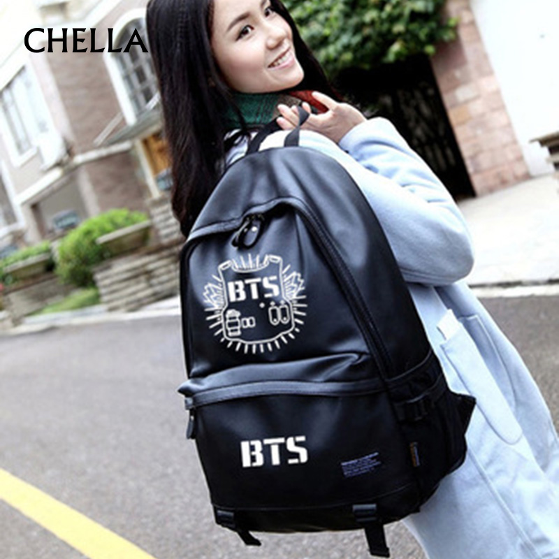 Women BTS Backpack Luminous PU Leather Female Backpacks Waterproof Boys Girls School Bags Teenager Schoolbag Mochila BP0172