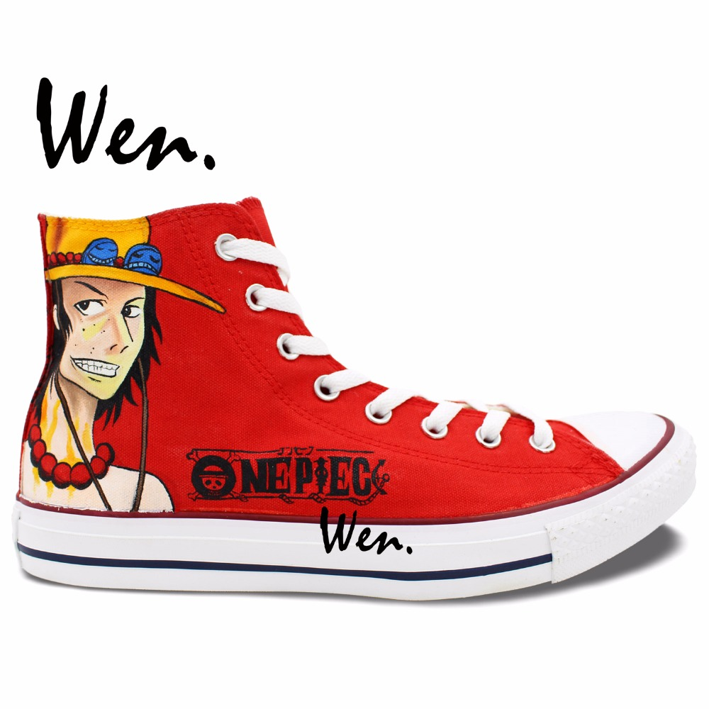 ФОТО Wen Hot Red Anime Hand Painted Shoes Design Custom One Ace Luffy Men Women's High Top Canvas Sneakers