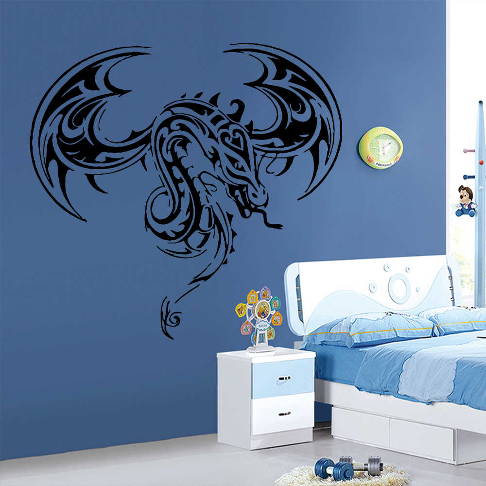 Décoration Murale Adhésive Exquisite Dragon Wall Sticker For Boys Room Decoration Stickers Mural Vinyl Self Adhesive Wallpaper Home Decor Wall Decals