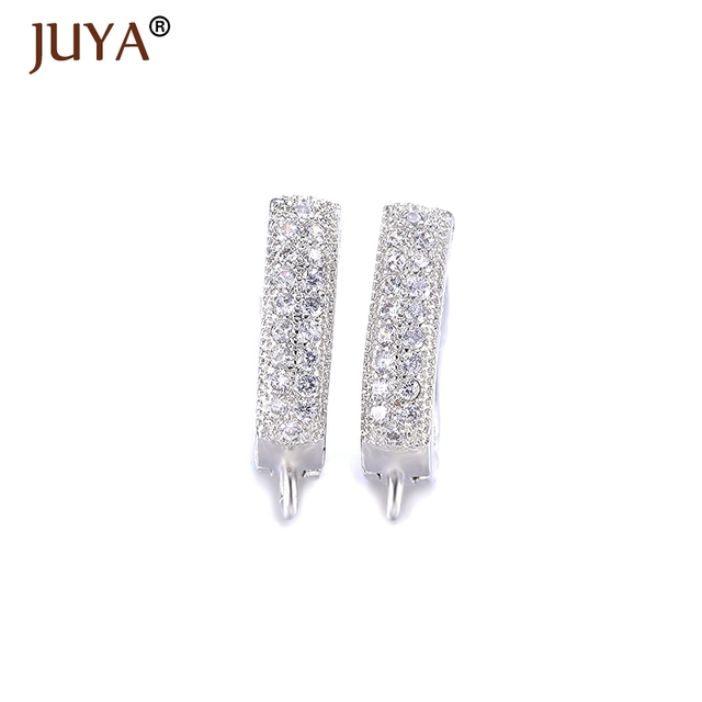 Creative Gold Silver Leverback Earwire Austrian Crystal Hoop Earring Findings For Diy Women Earrings Jewelry Connector