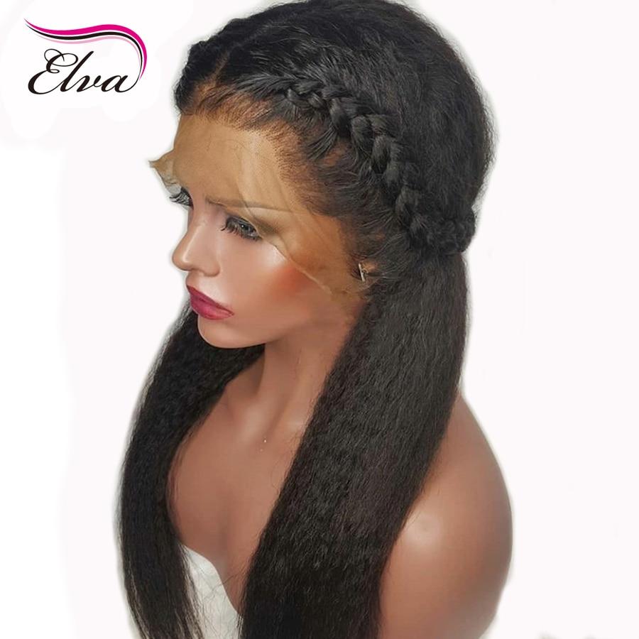 Elva Hair 130% Density Full lace Human Hair Wig Yaki Straight Pre Plucked Hairline Brazilian Remy Hair Wigs for Black Women