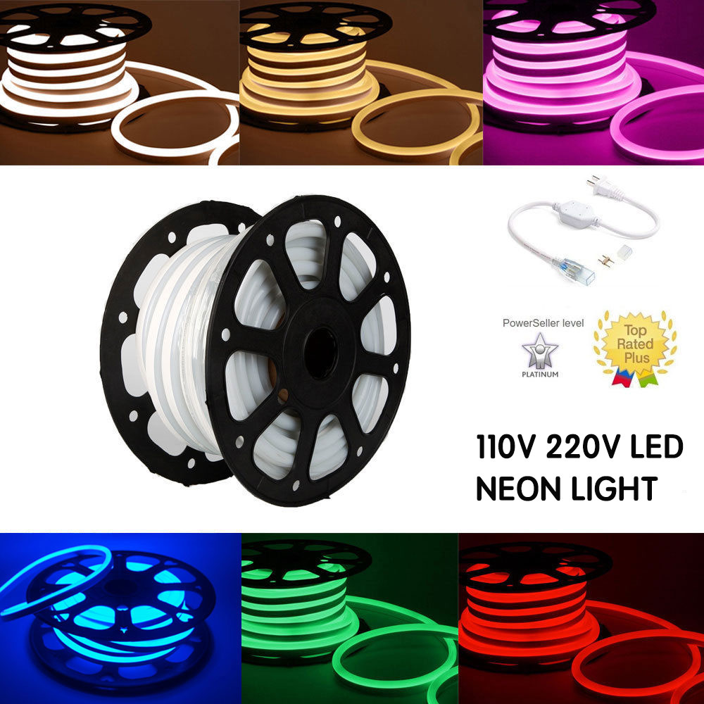 46 m 150ft 110 V 220 V Commercial LED Flexible plat Flex police LED néon corde LED signe lumières bande avec Clips 3 ans de garantie