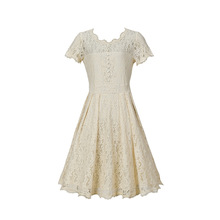 2019 elegant lace hollow out solid knee length woman dresses vintage a-line o-neck short sleeve lace female dresses 2018 summer fashion solid simple style a line dress woman o neck short sleeve elegant empire knee length party dresses c1455