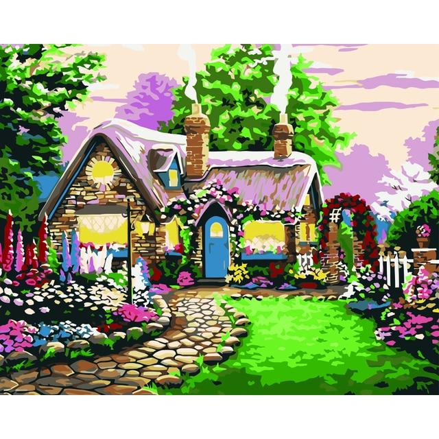 Garden Cottage Landscape Painting By Number Diy Oil Paint 40x50cm