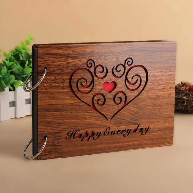 Wooden Book Cover Diy : Inch pages diy photo album natural wooden cover baby