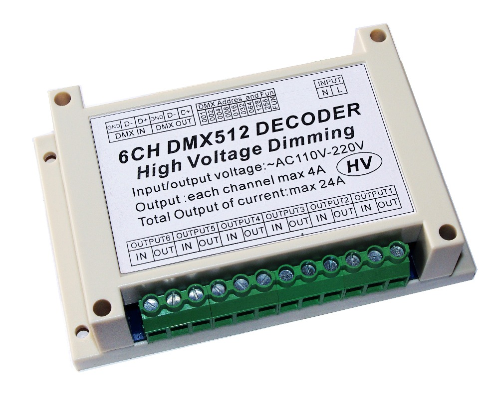 AC110V - 220V High voltage dimming 6CH DMX512 Decoder 6 channels DMX 4A/CH HV Decoder dimmer board For incandescent lights bulbAC110V - 220V High voltage dimming 6CH DMX512 Decoder 6 channels DMX 4A/CH HV Decoder dimmer board For incandescent lights bulb