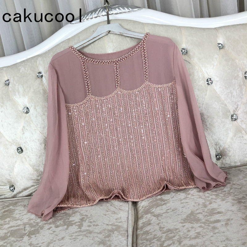Cakucool Women Spring Chiffon   Blouse   Long Flare Sleeve Beading Embroid Blusas Slim All-match Sequins Bling   Blouses     Shirts   Lady