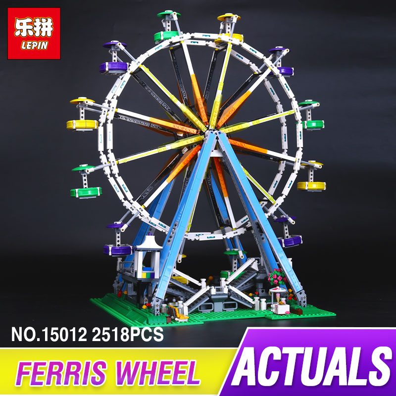 DHL LEPIN 15012 2518Pcs City Expert Ferris Wheel Model Building Kits Blocks Bricks Funny Toys Compatible 10247 for children gift hot sembo block compatible lepin architecture city building blocks led light bricks apple flagship store toys for children gift