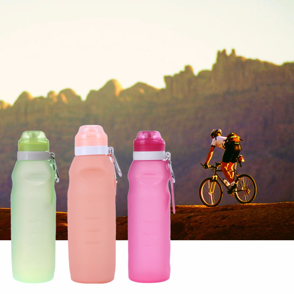 Russian Fashion 650ML Foldable Leakproof Water Bottle Kettle Outdoor Sport Camping Silicone Folding Gym Water Bottle
