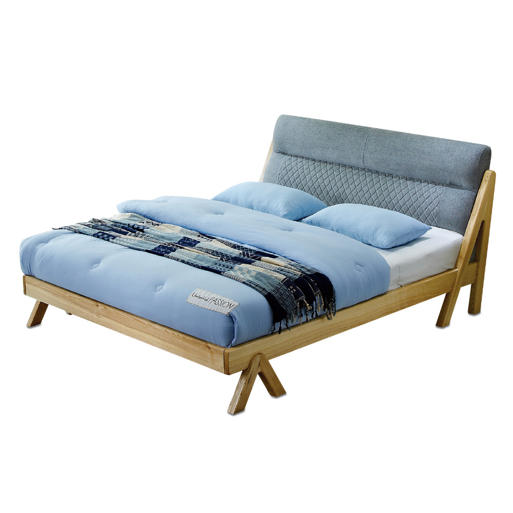 1122H301B Modern minimalist wedding king size Original Nordic style All solid wood large bed frame 1.8m 5.91ft 70.9in