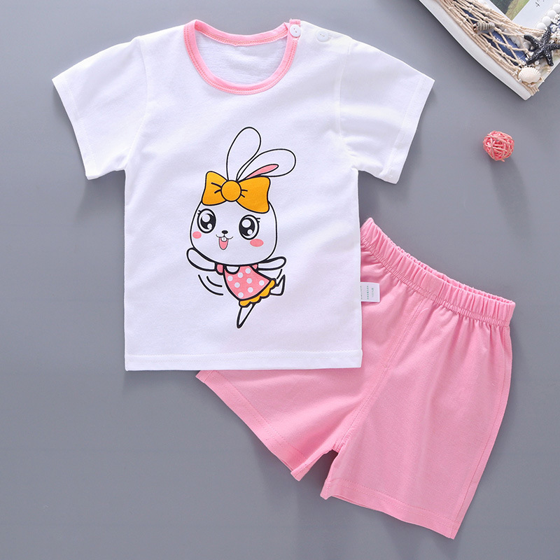 summer Short Sleeve baby girls clothes Cotton Cartoon print T Shirt+pant 2pcs newborn baby Clothing set Infant Clothes Sets