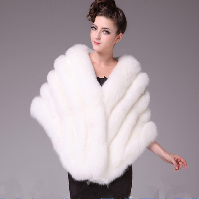 Autumn Winter Ladies' Real Natural Fox Fur Shawls Women Fur Pashmina Wraps Wedding Bridal Party Capes VF0561