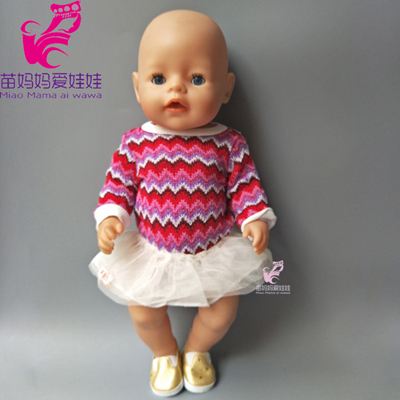 43cm Baby born doll quality sweater shirt and lace dress set fit for 18 inch american girl doll baby girl gift rose christmas gift 18 inch american girl doll swim clothes dress also fit for 43cm baby born zapf dolls