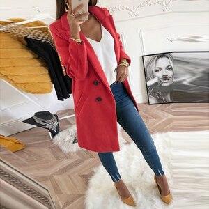 Image 4 - Kadın sonbahar kış yün ceket uzun kollu palto gevşek artı boyutu turn aşağı yaka büyük boy Blazer dış giyim ceket zarif