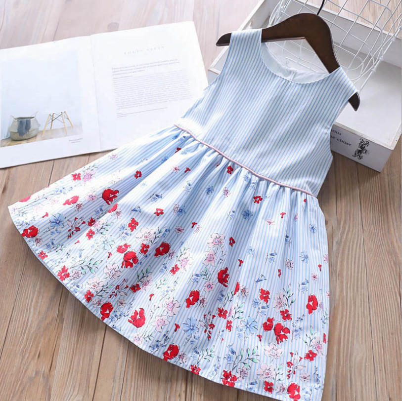 kids dresses for girls 2019 summer girl fashion striped floral print cotton party tutu sundress children dress kids clothes 2-8Y