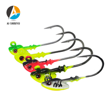 AI-SHOUYU New Slow Jig Head Fishing Hook 7g 10g 14g 21g Exposed Lead Jig Head Barbed Hook Lure Jigging Hook Fishing Tackle aoclu bared no painting jig head lead sinker weights shots with lock pin 10pcs lot from 2g to 21g for soft lure jigging