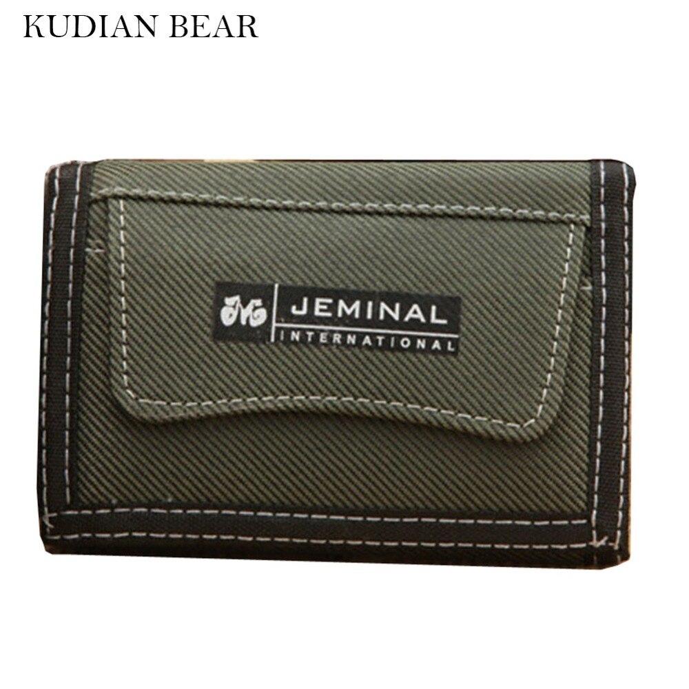 KUDIAN BEAR Canvas Men Wallets Coin Pocket Short Money Bag Pocket for Credit Card Boys S ...