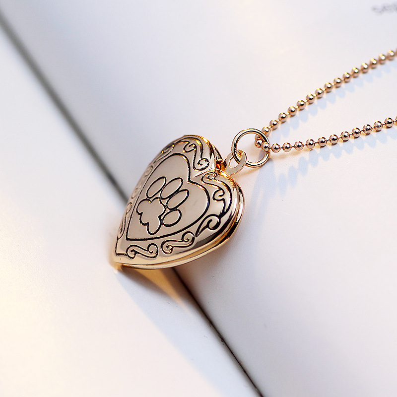 heart dog shaped lockets animal for g w necklace paw mom cute print gifts locket item pendant