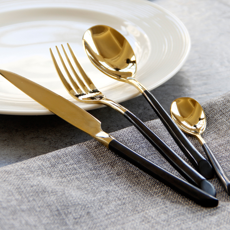 KTL 20 Pcs lot Half Gold Dinnerware Set 304 Stainless Steel Cutlery Dinner Knives Forks Scoops