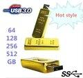 Real Capacidad de Barra de Oro USB 3.0 Flash Drive de Memoria de Disco Stick Clave 64 GB 128 GB 32 GB USB Flash Drive Pendrive 256 GB 512 GB Regalo OTG