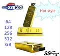 Real Capacity Gold Bar USB 3.0 Flash Memory Drive Stick Disk Key 64GB 128GB 32GB USB Flash Drive Pendrive 256GB 512 GB Gift OTG