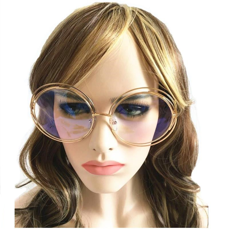 mincl elegant round wire frame sunglasses women sun glasses clear less shades oversized eyeglasses