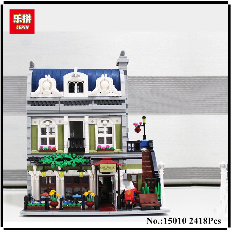 IN STOCK Lepin 15010 Expert City Street Parisian Restaurant Model Building Kits Blocks Funny Children Toys Compatible 10243 dhl new 2418pcs lepin 15010 city street parisian restaurant model building blocks bricks intelligence toys compatible with 10243