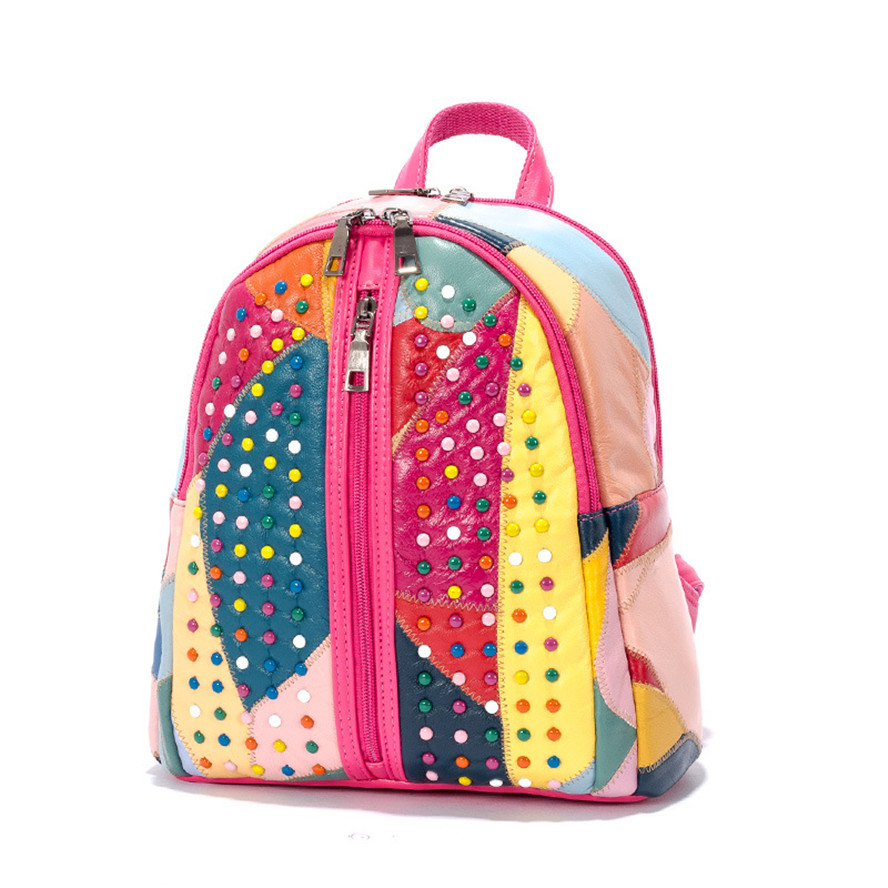 Genuine Leather Stitching Backpack Large Capacity Rivet Black Shoulder Bag Women Casual Female Teenage Girls School