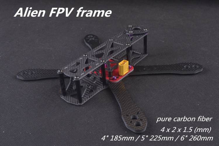NEW arrived DIY mini drone Alien FPV cross racing quadcopter pure carbon fiber frame 185/225/260 4mm * 2mm * 1.5mm unassembled qav r 220 frame quadcopter pure carbon frame 4 2 2mm cobra cm2206 little bee 30a esc sp racing f3 for diy fpv mini drone