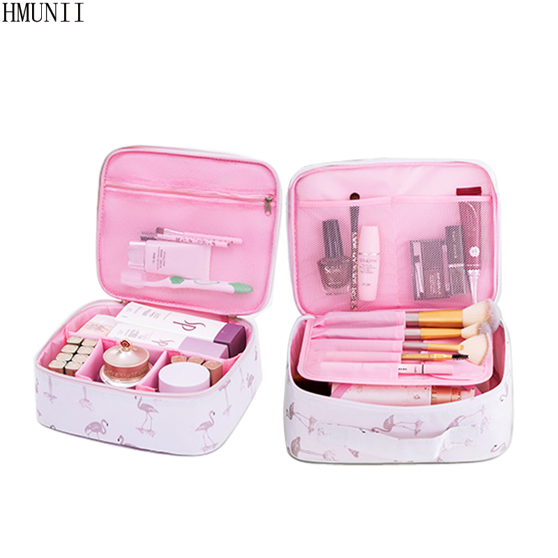 HMUNII Brand Women Travel Cosmetic Bags Durable Waterproof Oxford Cosmetic Case Beauty Box Organizer Makeup Toiletry Bag HM-010 2018 travel cosmetic bag packing cubes print makeup bags beauty case two tier cosmetics box waterproof organizer bag