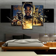 Canvas Printed Movie Poster Black Panther 5 Pieces Wall Art Painting Home Decorative Modern Living Room Artwork Cuadros