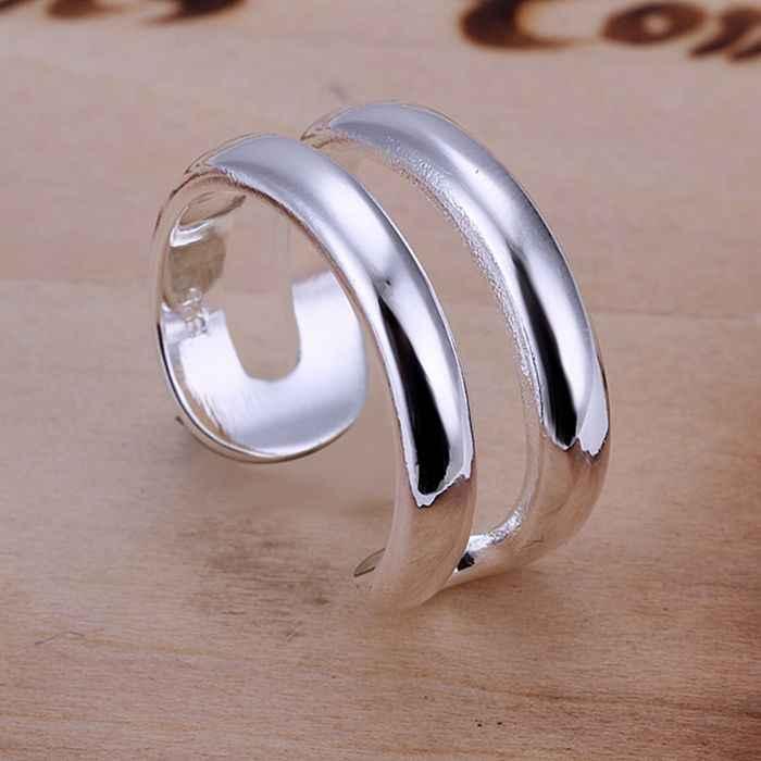 เงิน 925 แหวนแฟชั่นสองสาย Ring แหวนผู้หญิงเงินของขวัญเครื่องประดับนิ้วมือแหวน SMTR038