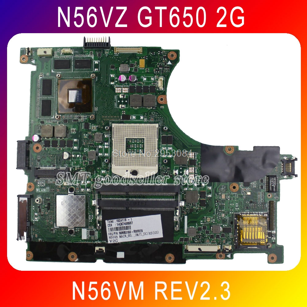 For Asus N56VM N56VJ n56v GT650 2GB REV:2.3 N13P-GL-A1 Laptop Motherboard Fully Tested Working Perfect Free Shipping free shipping new original n56v n56vm motherboard main board 60 n9jmb1300 gt630m n13p gl a1 100% tested working