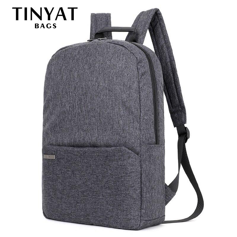 купить TINYAT Men Women Backpacks Daypack Canva Shoulder School Backpack Bag for teenage Laptop Backpack 15 inch Computer Mochila Grey по цене 1192.68 рублей